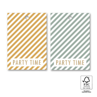 Cadeaulabel Party stripes yellow