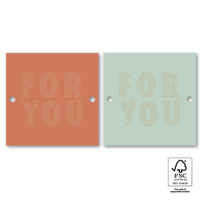 Cadeaulabel For you dots warm red