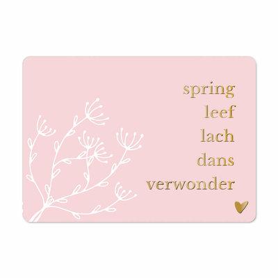 Ansichtkaart Spring leef lach