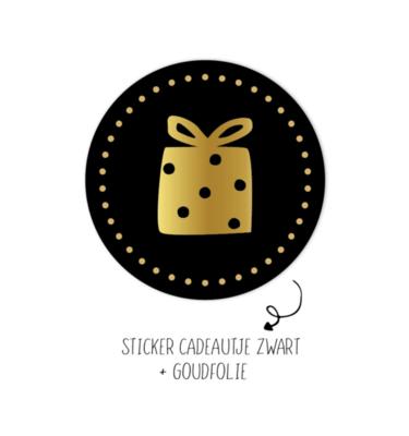 Sticker Kadootje zwart dots