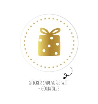 Sticker Kadootje wit dots