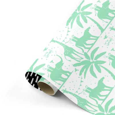 Cadeaupapier Tropical party fresh mint/zwart