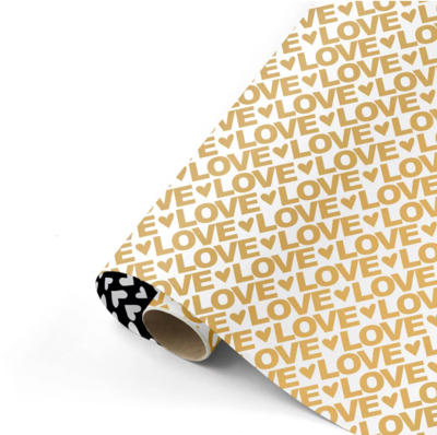 Cadeaupapier Love letters goud/zwart
