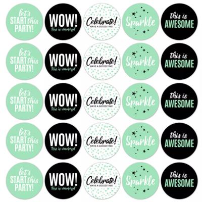 Stickers Let's Party fresh mint/zwart