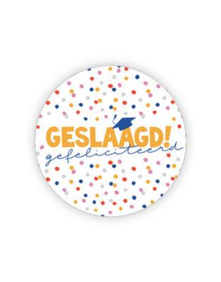 Sticker Geslaagd! gefeliciteerd (confetti)