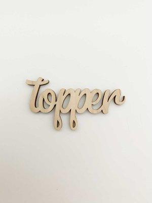 Cadeaulabel hout Topper