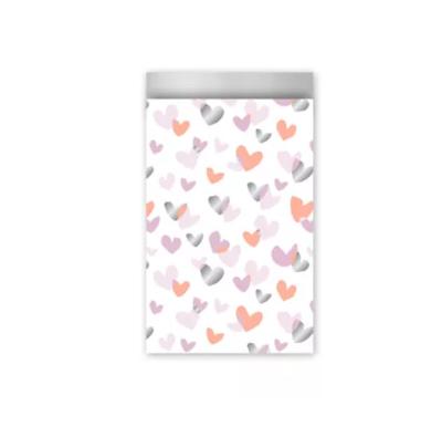 Cadeauzakjes Duo hearts neon/roze/zilver 12 x 19