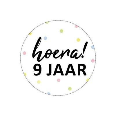 Sticker Hoera! 9 jaar