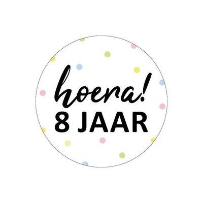 Sticker Hoera! 8 jaar