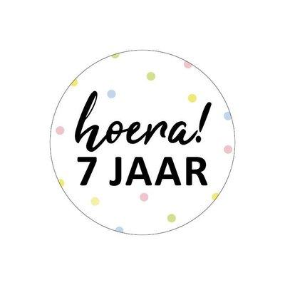 Sticker Hoera! 7 jaar