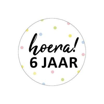 Sticker Hoera! 6 jaar