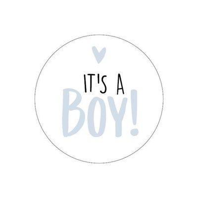 Sticker It's a boy! wit/blauw