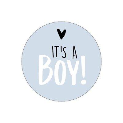 Sticker It's a boy! blauw/wit