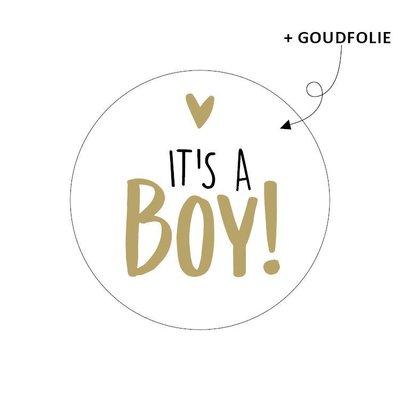 Sticker It's a boy! wit/goud