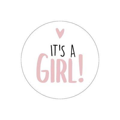 Sticker It's a girl! wit/roze