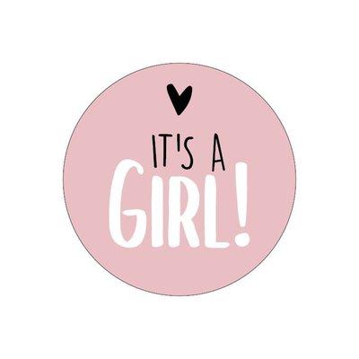 Sticker It's a girl! roze/wit