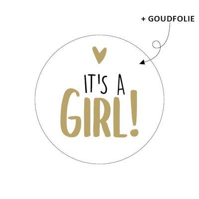 Sticker It's a girl! wit/goud