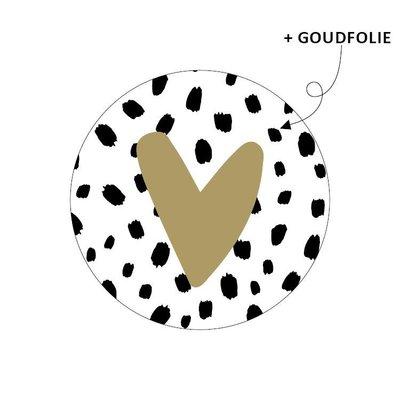 Sticker Hartje goud (101 dots)