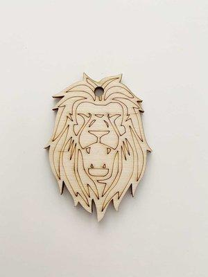 Cadeaulabel hout Nederlandse leeuw