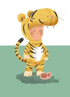 Ansichtkaart Kind verkleed als tijger