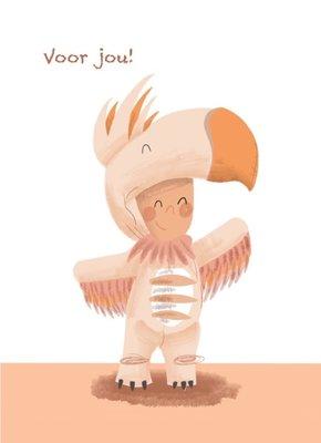 Ansichtkaart Kind verkleed als vogel