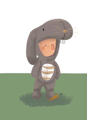 Ansichtkaart Kind verkleed als konijn