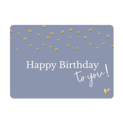 Ansichtkaart Happy Birthday to you (blauw/gouden confetti)