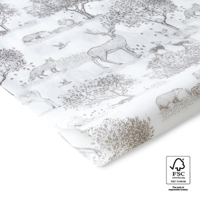 Vloeipapier Forest animals taupe