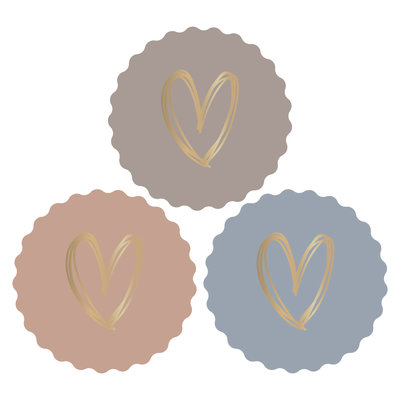 Stickers Hearts gold/baby