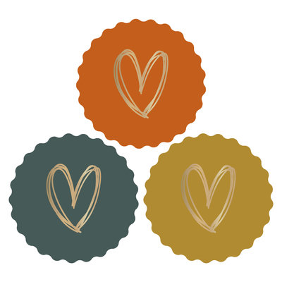 Stickers Hearts gold/autumn