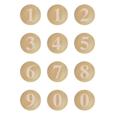 Stickers Multi numbers stripes beige/gold
