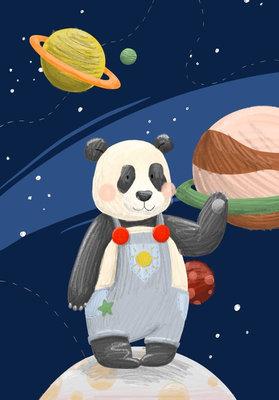 Ansichtkaart Panda in de ruimte