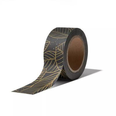 Masking tape Lovely leaves zwart