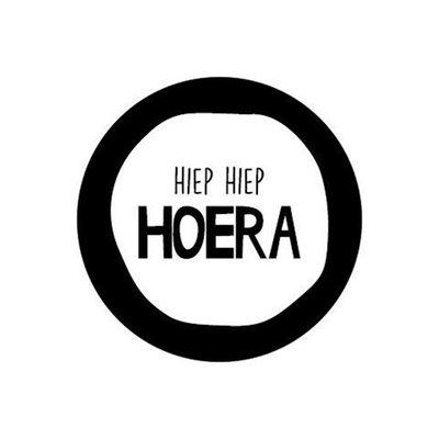 Sticker Hiep hiep hoera (zwart/wit)