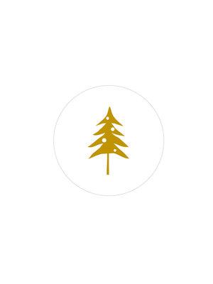 Sticker Woodland tree wit/goud