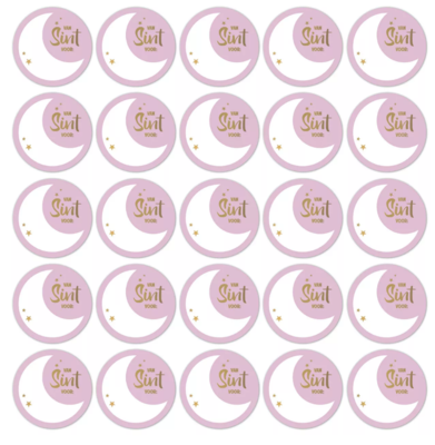 Stickers Sint maan lila/goud