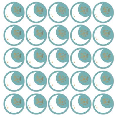 Stickers Sint maan petrol/goud