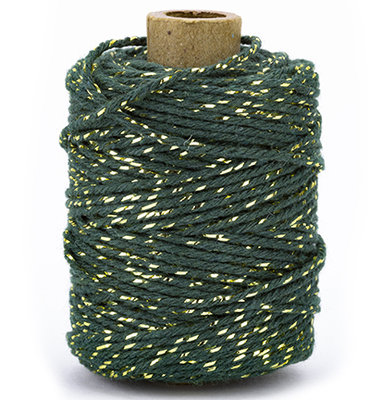 Cotton cord dark green/gold roll