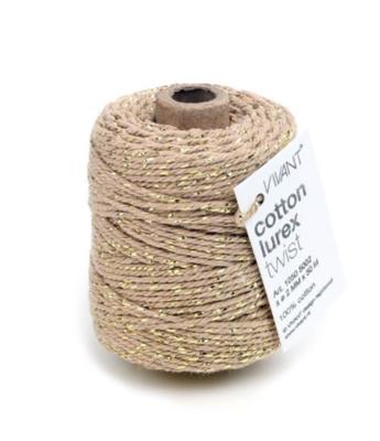 Cotton cord naturel/gold roll