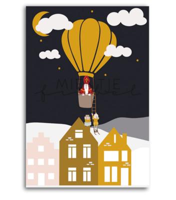 Ansichtkaart Sinterklaas luchtballon