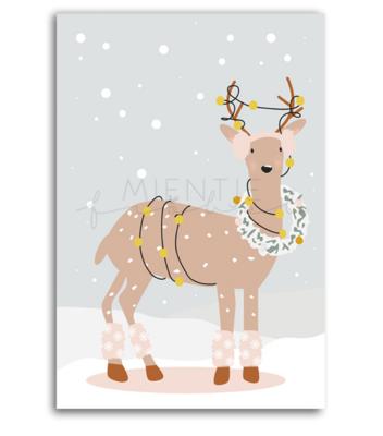 Ansichtkaart Bambi met krans