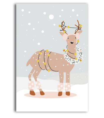 Cadeaukaartje Bambi met krans