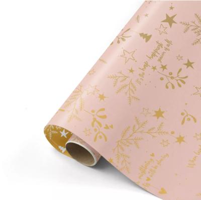 Cadeaupapier Mistletoe Kisses roze/goud