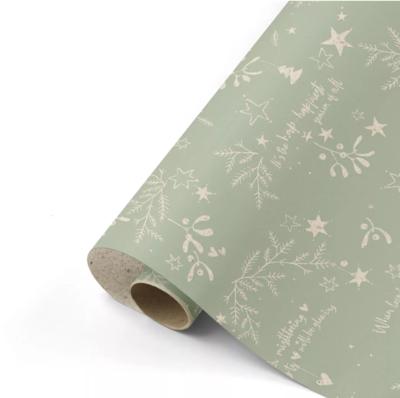 Cadeaupapier Mistletoe Kisses grasspaper/salie