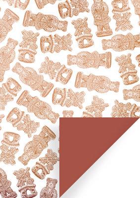 Cadeauzakjes Speculaas wit/brons/brique 17 x 25