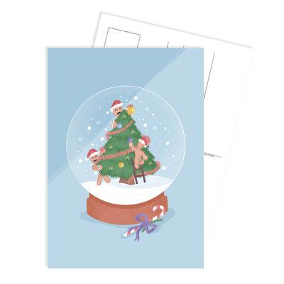 Ansichtkaart Christmas cookies schudbol