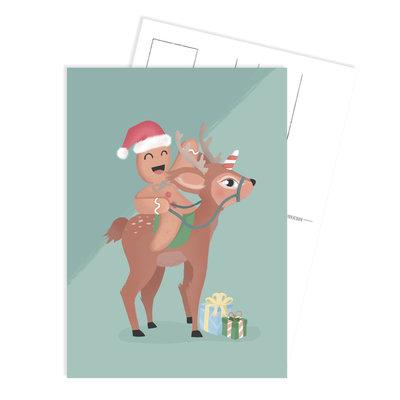 Ansichtkaart Christmas cookie hert