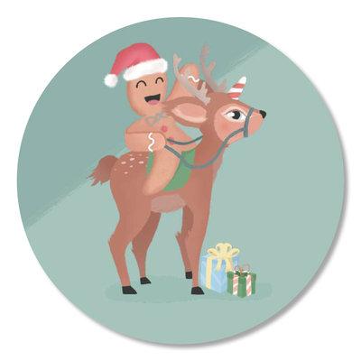 Sticker Christmas cookie met hert