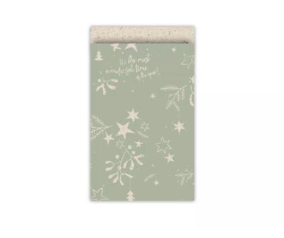 Cadeauzakjes Mistletoe kisses grasspaper/salie 12 x 19