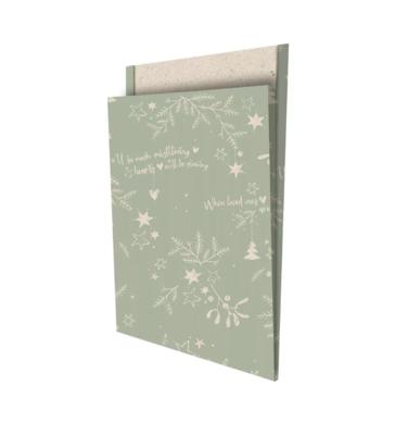 Cadeauzakjes Mistletoe kisses grasspaper/salie 25 x 34 +4